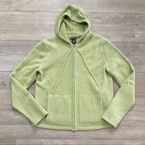 Neiman Marcus Cashmere Lime Green Zip Up Sweater